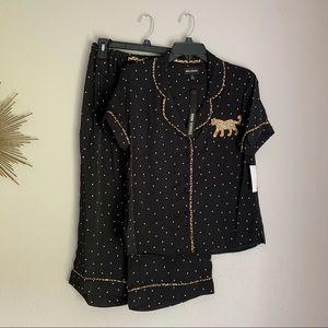 Room Service Black Cheetah Pajama Set Small